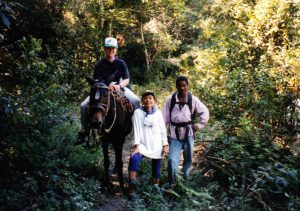 Medical Missionaries volunteers traveling to a village